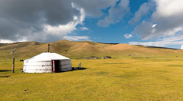 Beautiful ger Mongolian rural picturesque tranquil