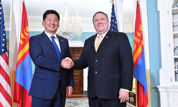 H.E. Mr. U. Khurelsukh, the Prime Minister of Mongoliameeting met the United States' Secretary of State, Mike Pompeo