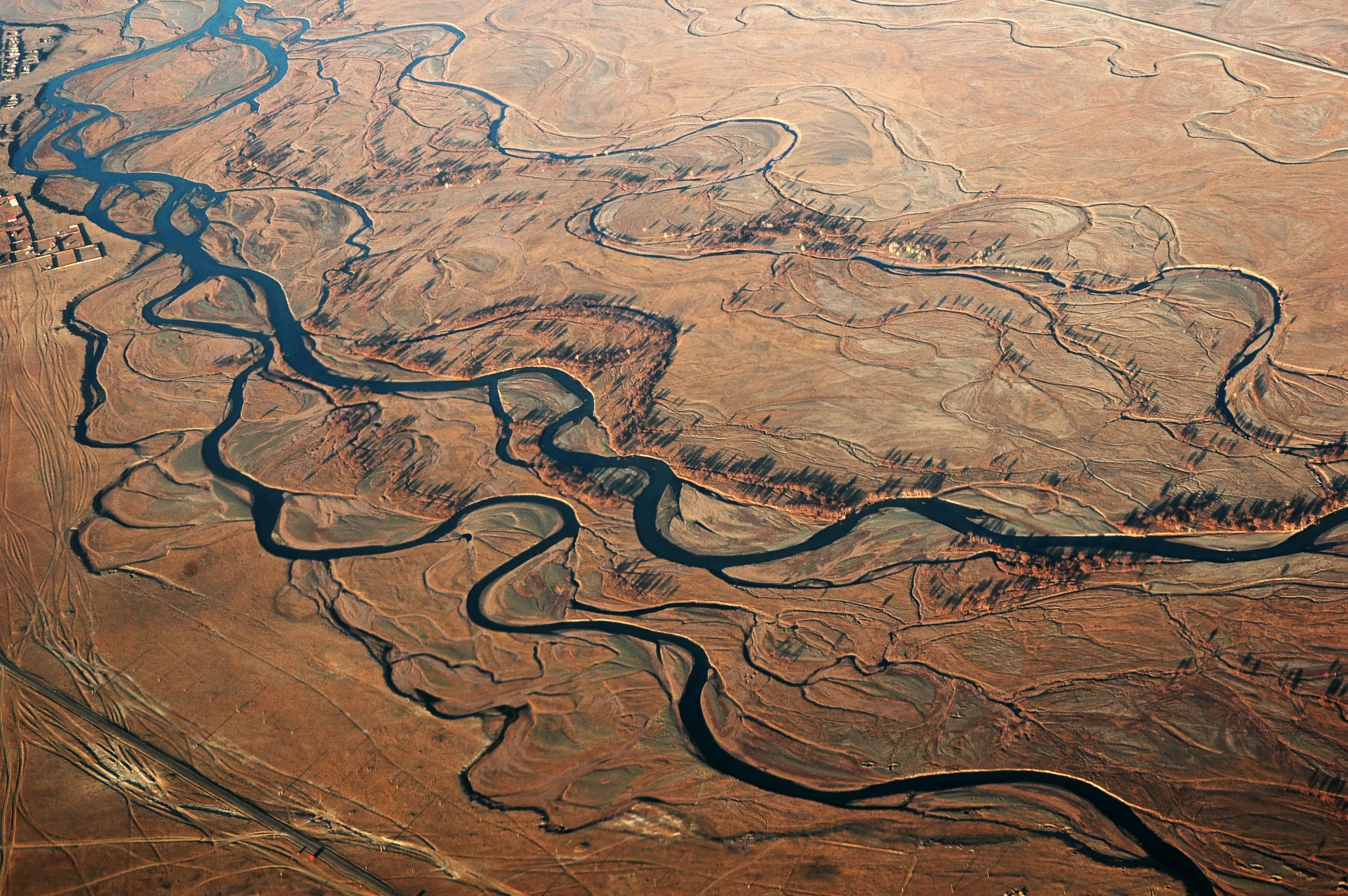 View from the plane on Mongolian landscape