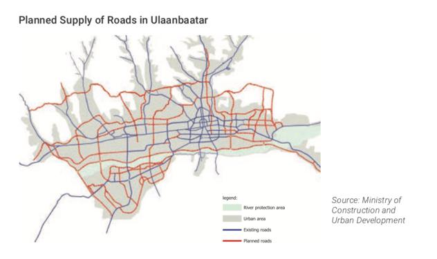 Planned supply of Roads in Ulaanbaatar- 2030 Ulaanbaatar Decentralisation Plan Mongolia