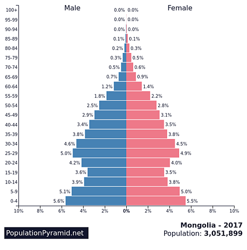 Population of Mongolia Population Pyramid Graphic